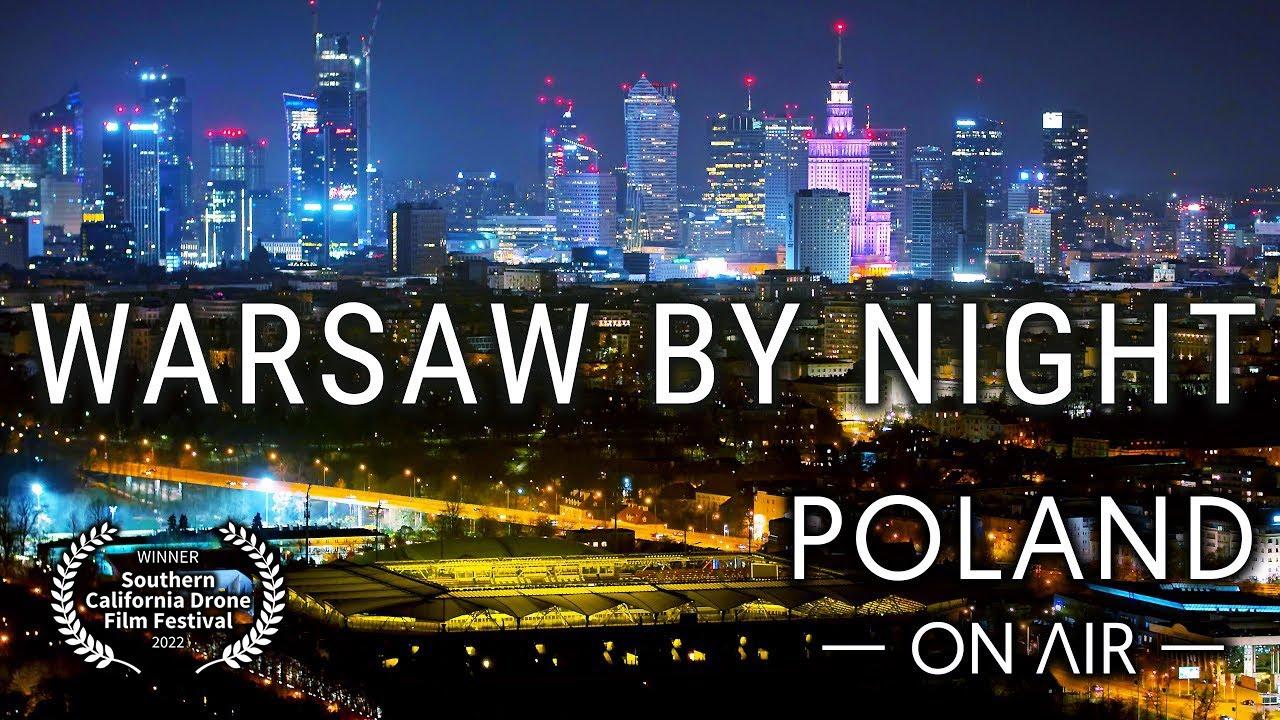 Warsaw By Night - Warszawa nocą z drona | Poland aerial 4K | POLAND ON AIR by Margas & Łogusz
