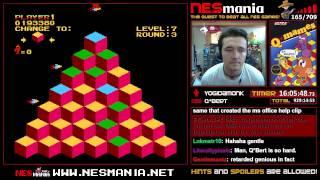 Q*Bert (NES) in 56:45 (Beaten Legit by TMR)