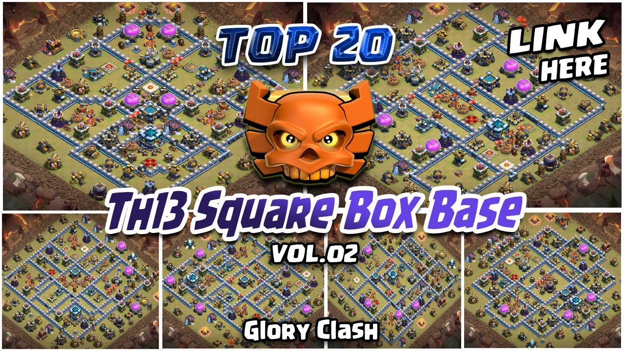 *Amazing* TOP 20 Th13 Square Box Bases WITH LINK/Th13 Trophy & CWL Base/Anti 2-3 Star/COC #600