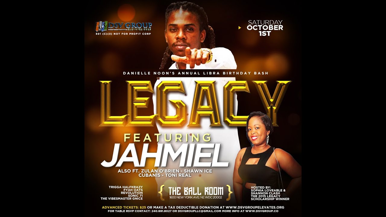 JAHMIEL - LIVE AT LEGACY - SAT OCT 1, 2016