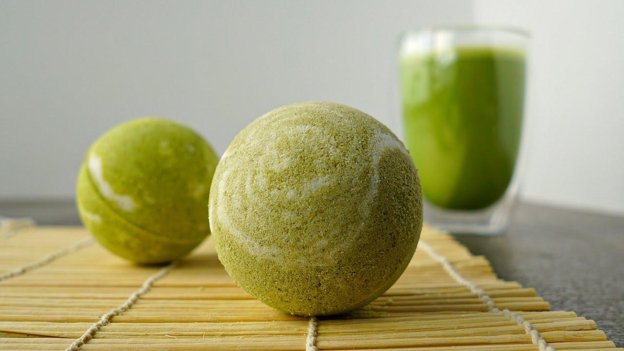 diy matcha green tea bath bombs + demo - youtube