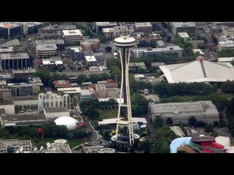 Cleveland to Seattle flight: Lake Michigan shores, Minneapolis, Seattle Space Needle 2015-06-01