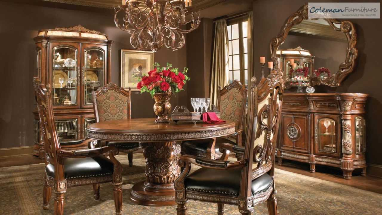 pics of dining room furniture | Villa Valencia Round Dining Room Collection From Aico ...