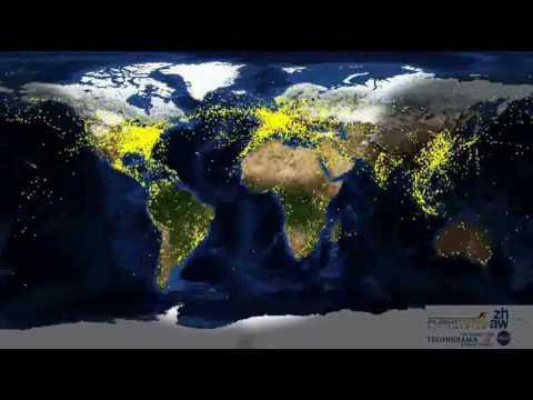 Trafico Aereo Mundial Visto Desde el Espacio