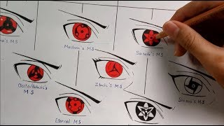 Drawing All Mangekyou Sharingan Forms | Evolution Of Sharing...