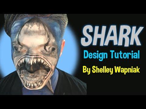 Shark Face Paint Design Tutorial by Shelley Wapniak thumbnail