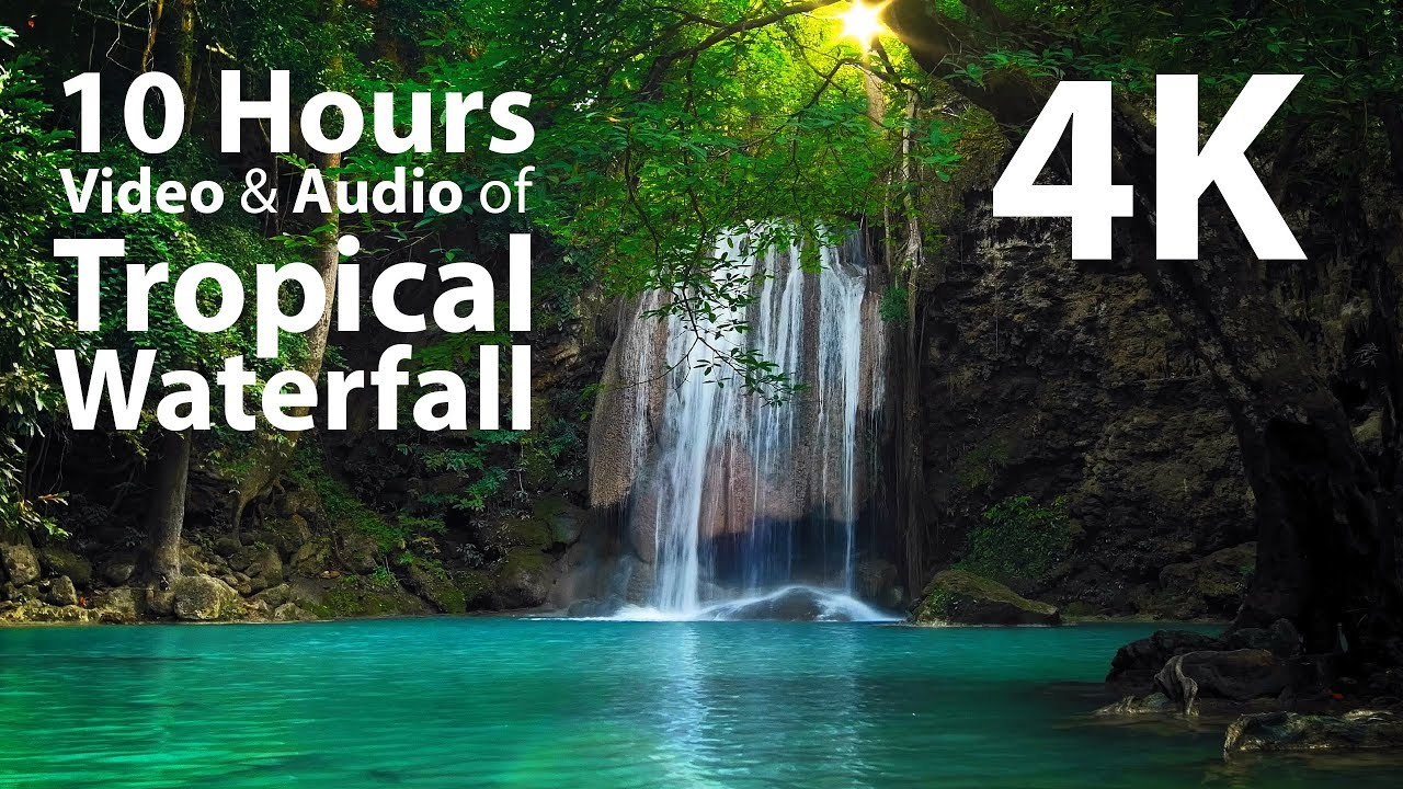 4K UHD 10 hours - Tropical Waterfall & Audio - relaxing, meditation, nature