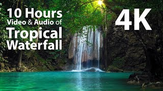 4K UHD 10 hours - Tropical Waterfall & Audio - relaxing, meditation, nature screenshot 1