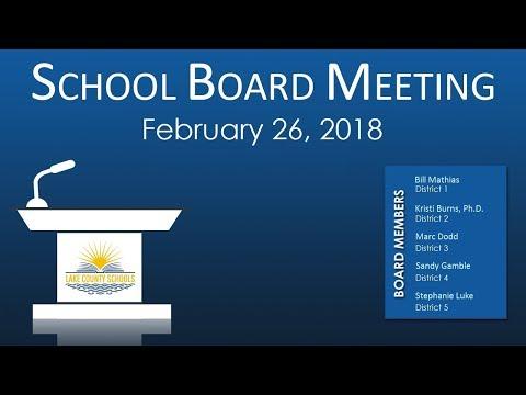 Lake County School Board Meeting February 26 2018