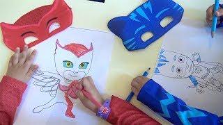 Pijamaskeliler oyun parkında boyama oyunu oynuyorlar Pjmasks Azra ve Selim ile renkleri öğreniyoruz