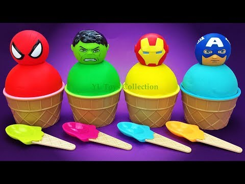 Learn Colors Play Doh Superhero Ice Cream Surprise Toys PJ Masks Minions Disney Princess Kinder