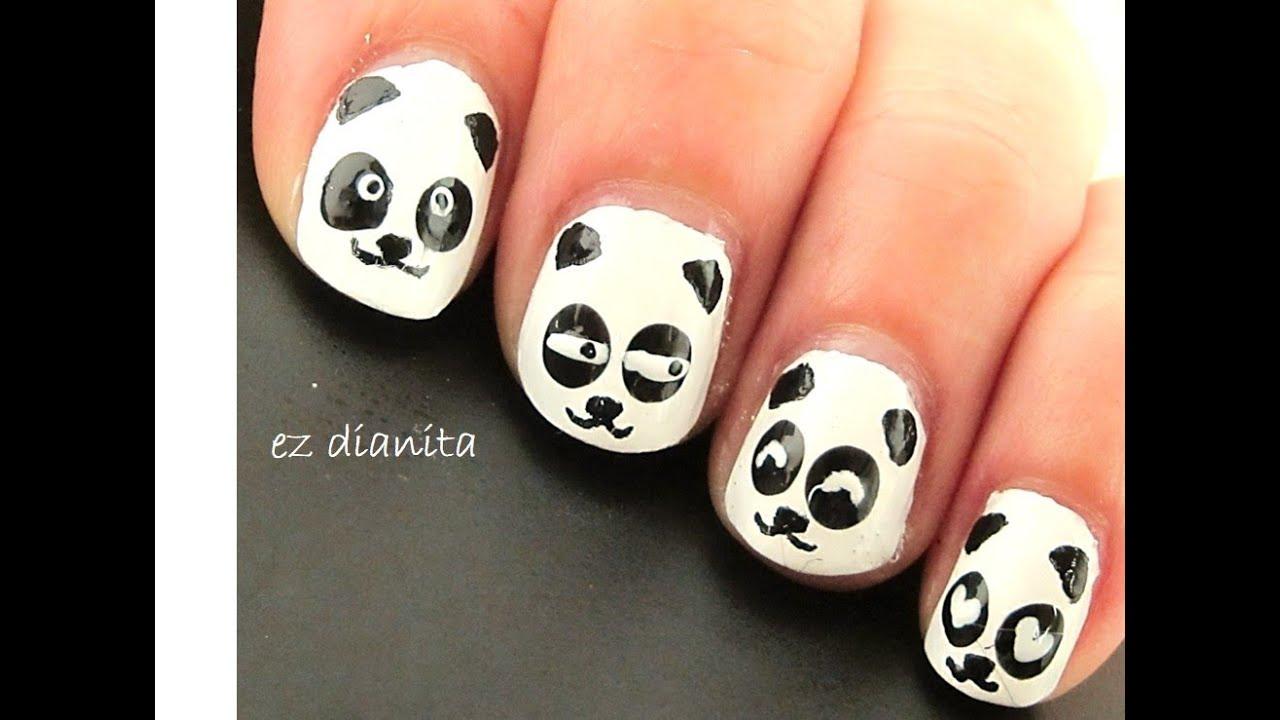 Diseño de uñas de Oso Panda estilo kawaii (Panda nail art)