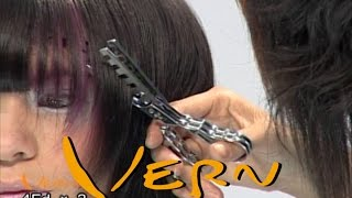 [HairWorld Milano]Curls purple mid length Bob with rounded and defined fringe, vern hairstyles 04