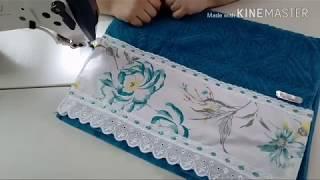 Toalha com barrado de tecido