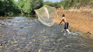 Serpme İle Balık avı Akarsuda Fish hunting Part 3 Devamı