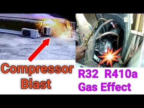 Air conditioner compressor blast,Compressor blast kio hota hai? R32 and R410a gas very dangerous