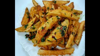 Chilli Garlic Wedges | Crispy Potato Wedges Recipe | Easy Potato Snacks Recipe Cafe Style|