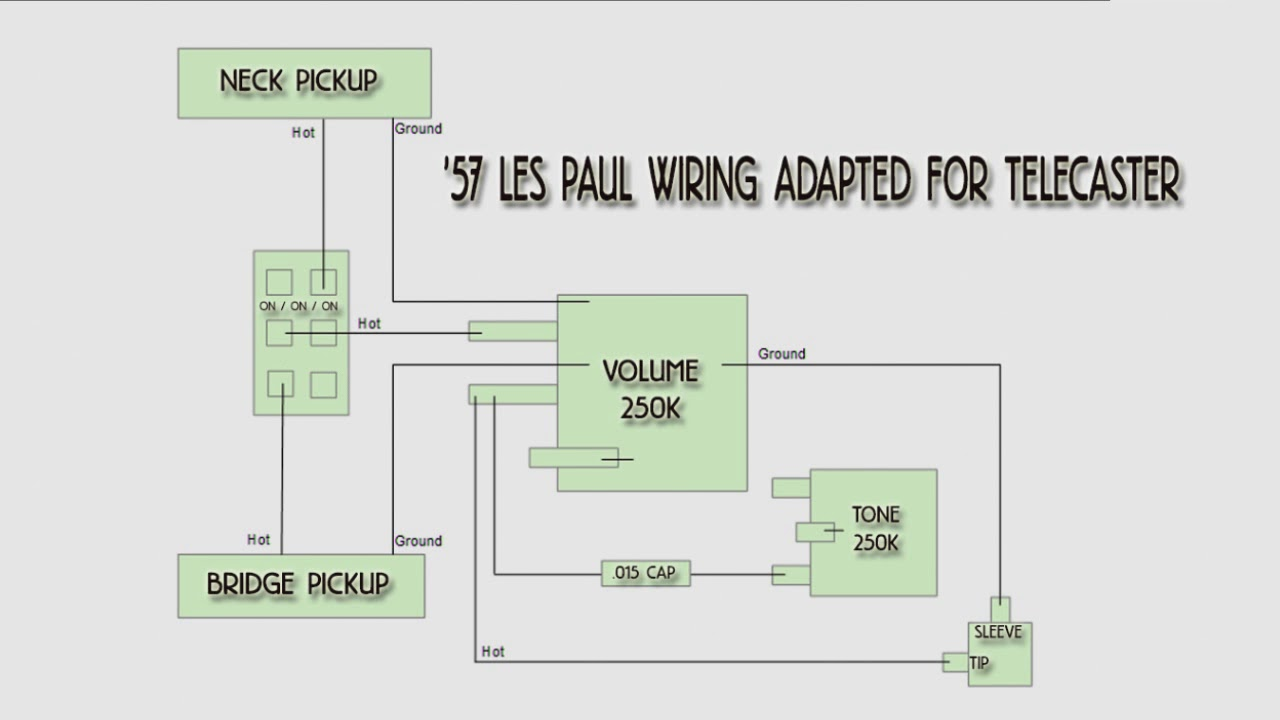 hight resolution of 57 les paul wiring adapted for telecaster youtube u002757 les paul wiring adapted for telecaster