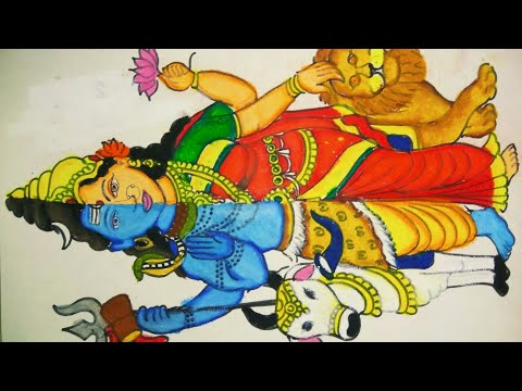 How To Draw Half Lord Shiva And Half Goddess Parvati Using Oil