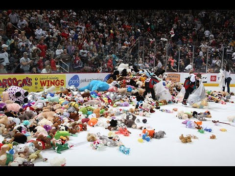 Christie James - Hockey Fans Throw Over 30K Bears On Ice (VIDEO)