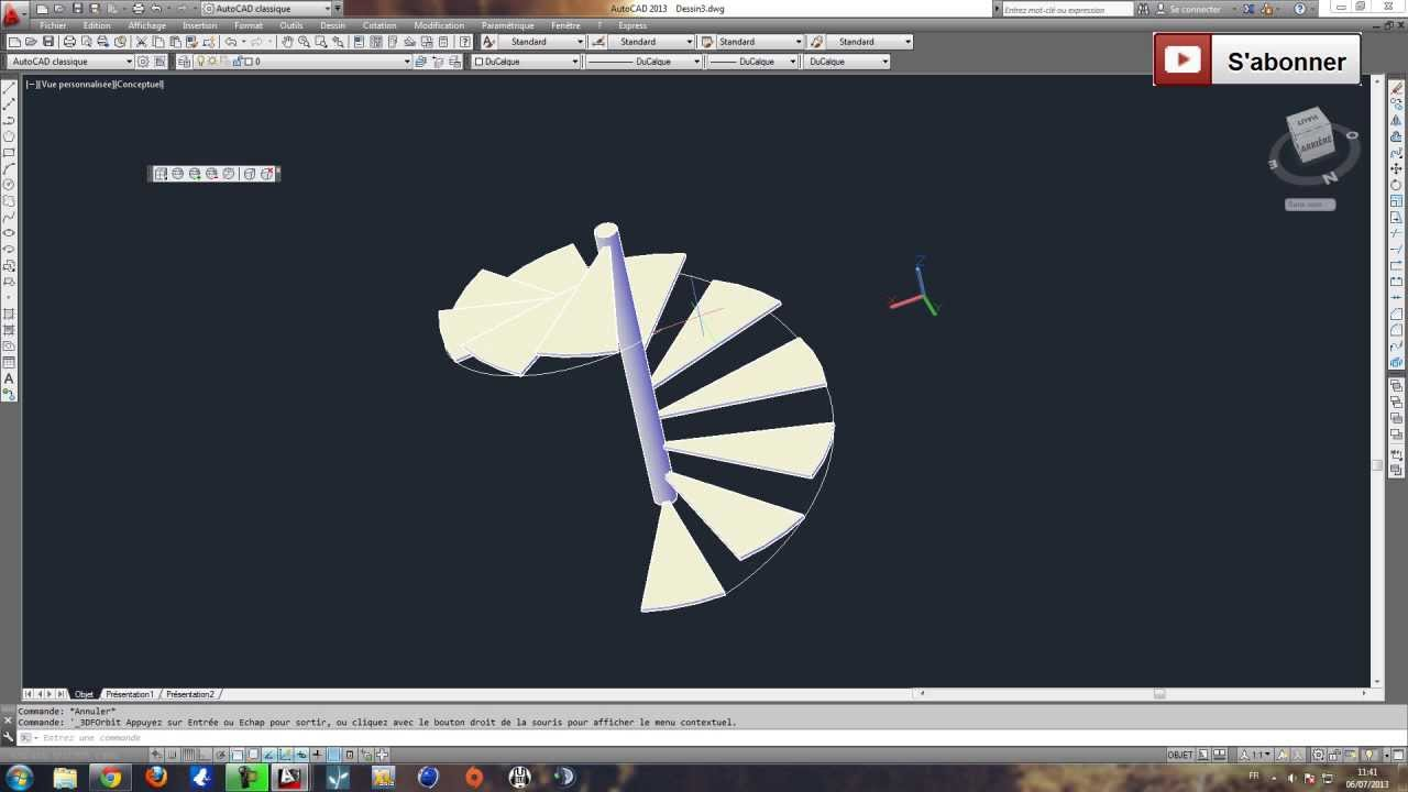 Escalier h lico dal colima on partie 2 tutoriel autocad 3d youtube - Escalier en colimasson ...