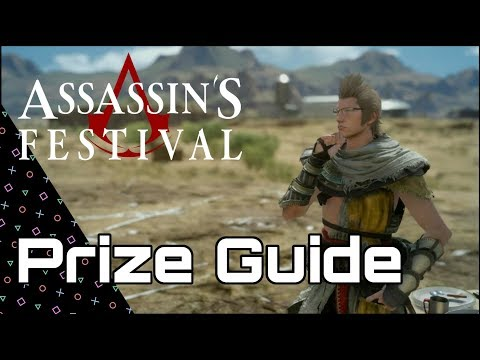 Final Fantasy XV! Prize Guide for Assassin's Festival! Costumes, weapon, decals & Recipehhhh!