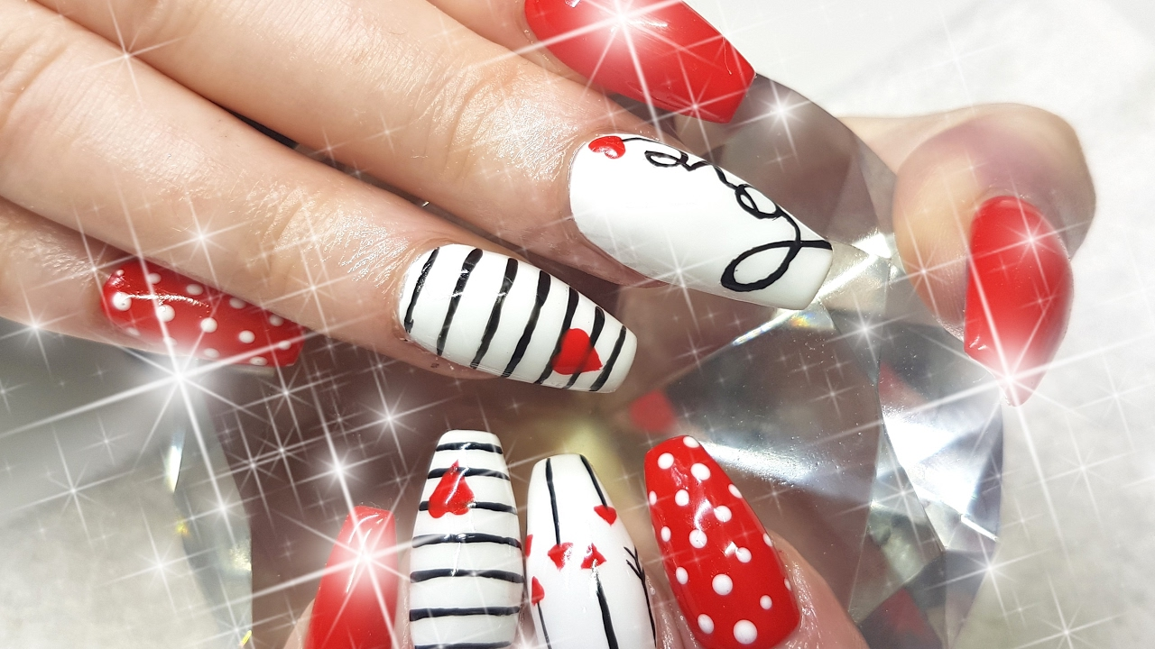 Acrylic Nails Cute Cupids VALENTINES DAY Nail Design - YouTube