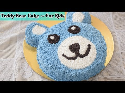 Teddy Bear Cake - Choco Vanilla Whipped Cream Cake Recipe - Priya R - Magic of Indian Rasoi