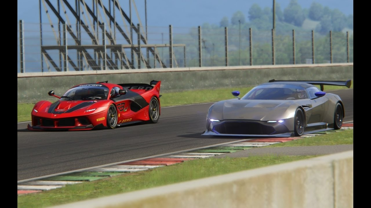 Battle Ferrari Fxx K Vs Aston Martin Vulcan Racing At Mugello Youtube