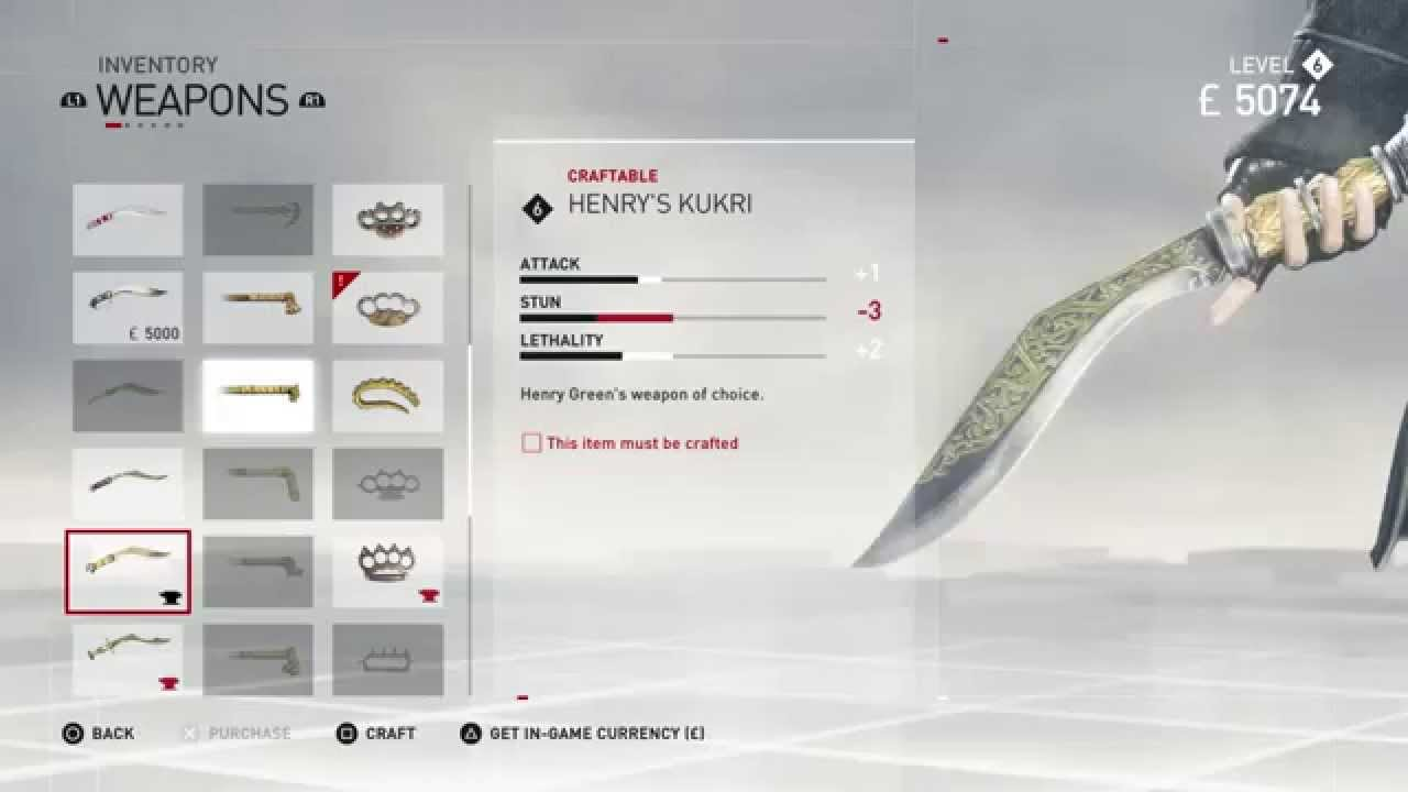 Assassin S Creed Syndicate Craft Henry S Kukri Statistics
