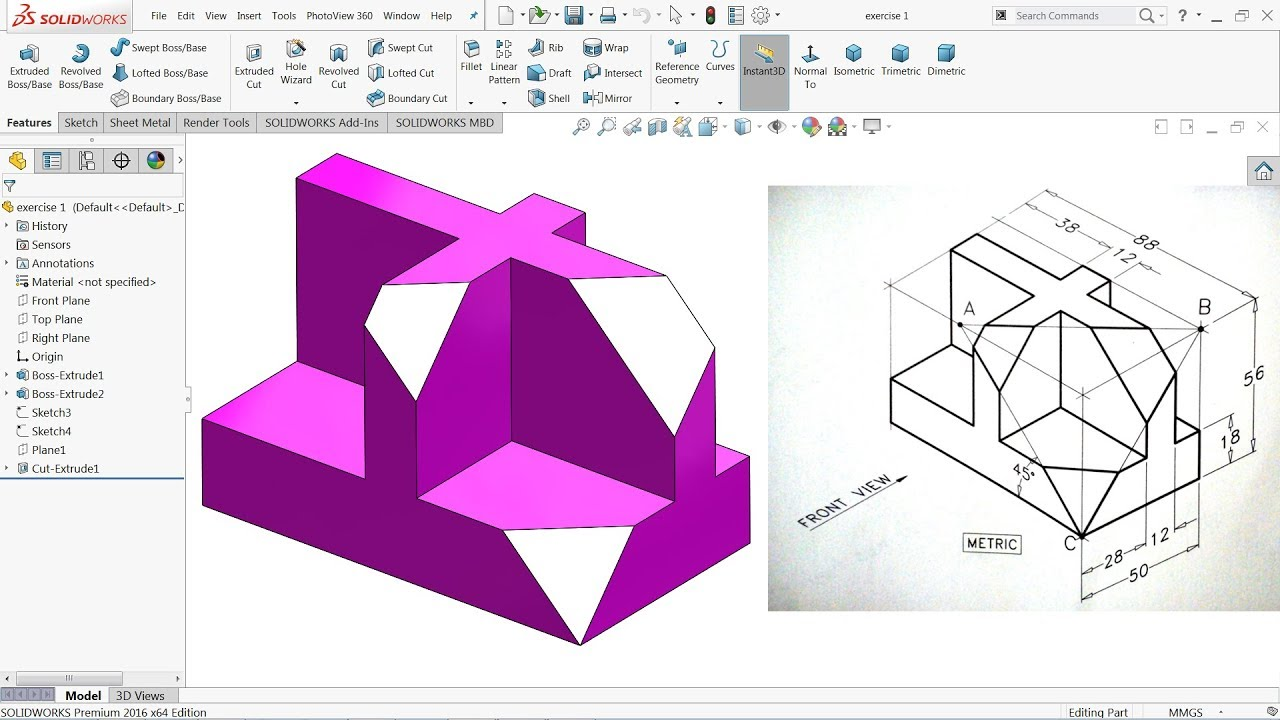 Solidworks tutorial 1 axis.