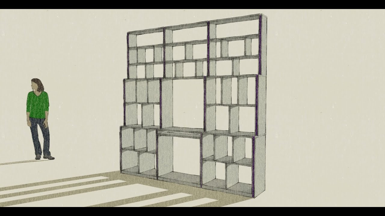biblioth que sur mesure fabrication et pose dessin sketchup youtube. Black Bedroom Furniture Sets. Home Design Ideas