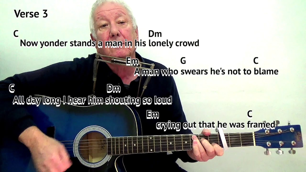 I Shall Be Released   Dylan   key C/capo 15rd fret  easy chords guitar  lesson on screen chords lyrics