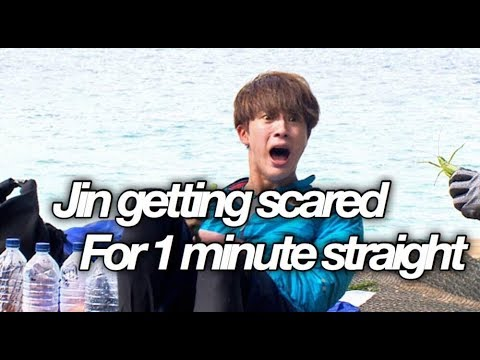 BTS jin getting scared for 1 minute straight