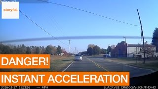Tesla Instant Acceleration Saves Driver From Speeding Threat (Storyful, Crazy)