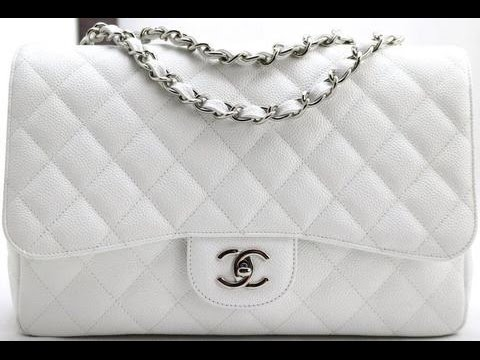 Chanel Jumbo Flap Bag In White Caviar Leather