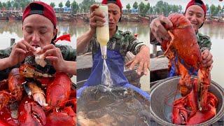 ASMR MUKBANG-거대한 슈퍼 매운 해산물을 먹는…