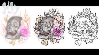 Tattoo Design Composition on Photoshop - Rose, Flames, Skull and Cross Bones