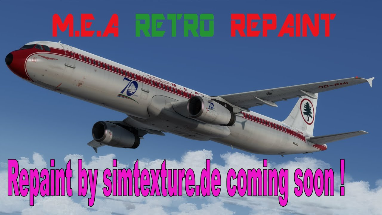 FSX-P3D MEA Middle East Airlines Retro Repaint Aerosoft Airbus A321