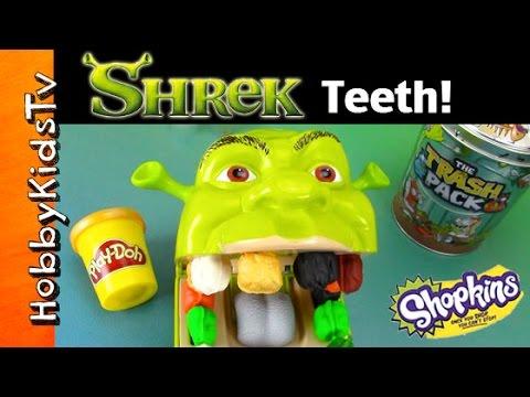 Shrek Rotten Play-Doh Teeth! Dentist Toy Trash Pack + Shopkins Surprises by HobbyKidsTV