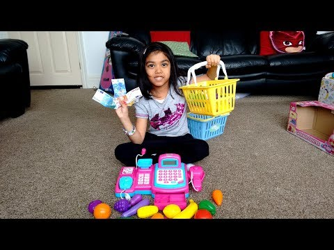 Pink Supermarket Cash Register Toy Surprise Unboxing and Playtime   Pretend Grocery Shopping