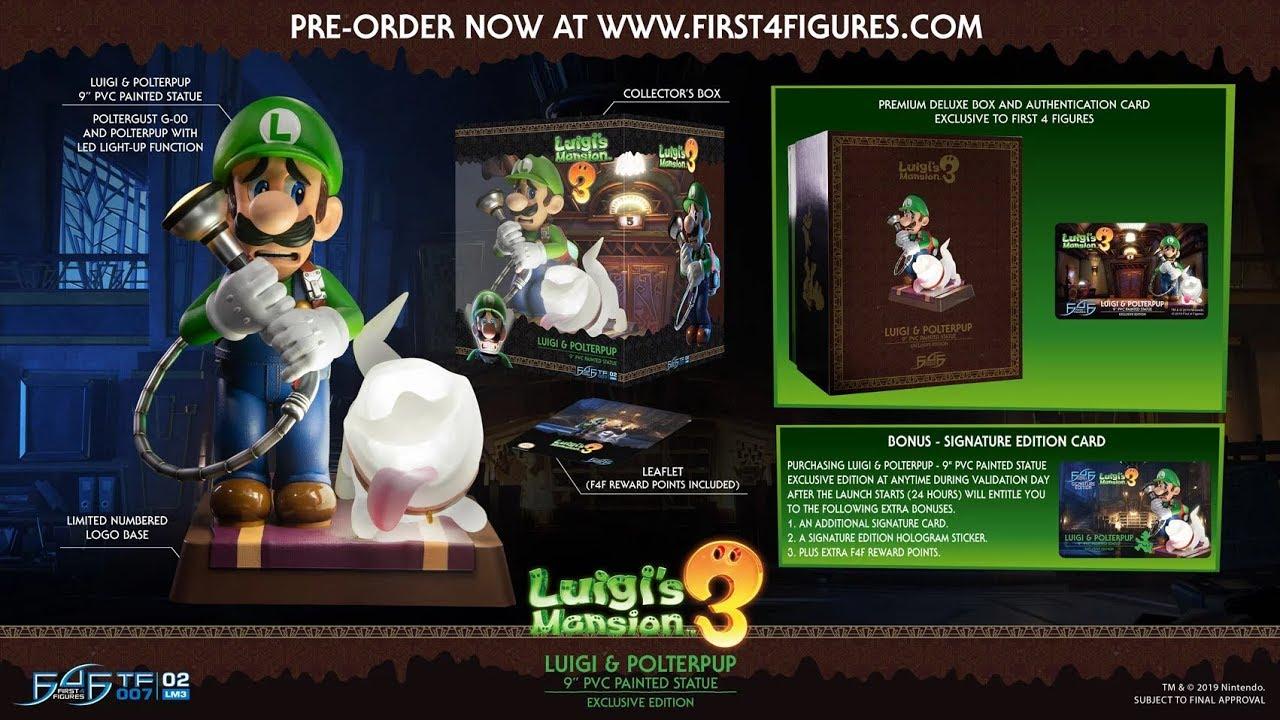 "First 4 Figures Luigi/'s Mansion 3 Luigi /& Polterpup 9"" PVC Painted Statue NEW"
