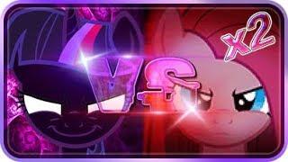 Nightmare Twilight Sparkle Alicorn VS Pinkamena Diane Pie X2