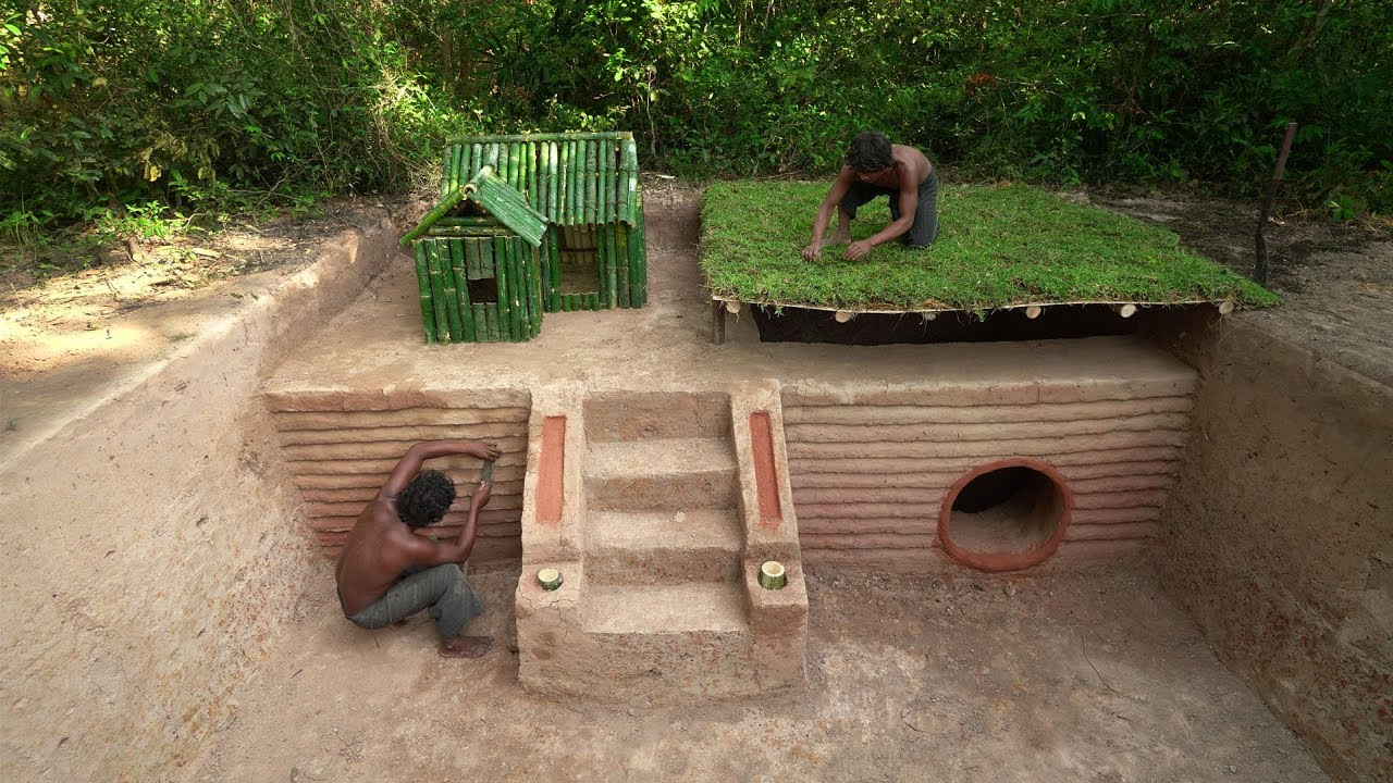 Build The Greatness House Underground And Bamboo Dog House Part 1