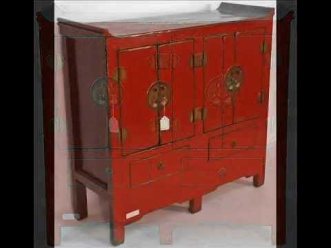 red lacquered furniture. Antique Chinese Red Lacquered Cabinet_bk0096y.wmv Furniture