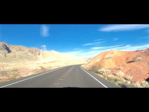 Driving through Valley of Fire at sunset, Nevada USA (UHD 4K)
