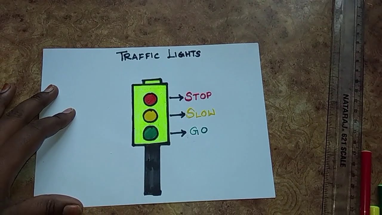 How to draw Traffic Lights easy for Kids. Traffic signals. Traffic rules  and Road safety drawing - YouTubeYouTube