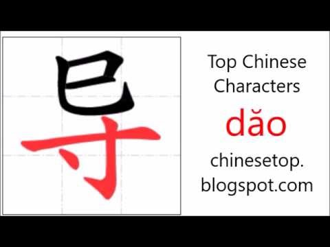 Chinese character 导 (dăo, lead) with stroke order and pronunciation