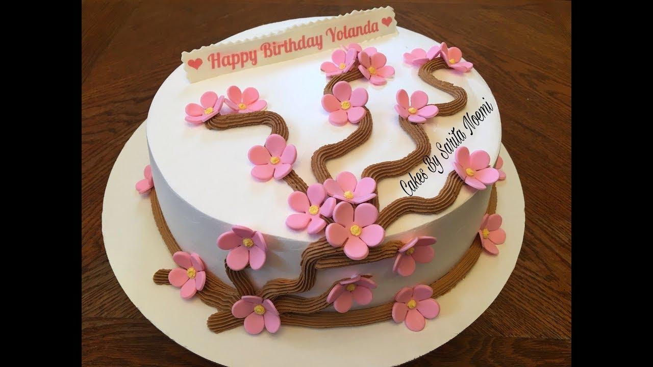 Cherry Blossom Cake Pastel Para Mujer Decoracion Sencilla Bizcocho Bolo Gâteau