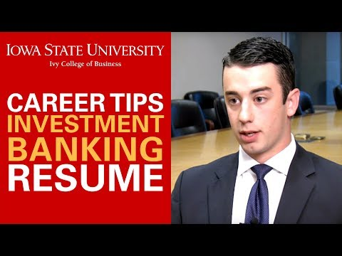 Investment Banking Career Tips  - Resume